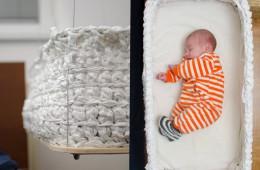 Viseča zibelka iz Slovenije otroka uspava kar sama.