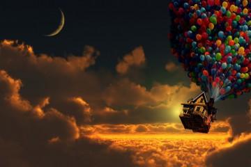 603392-artwork-balloons-clouds-digital-art-houses-moon-pixar-sunset-up-movie