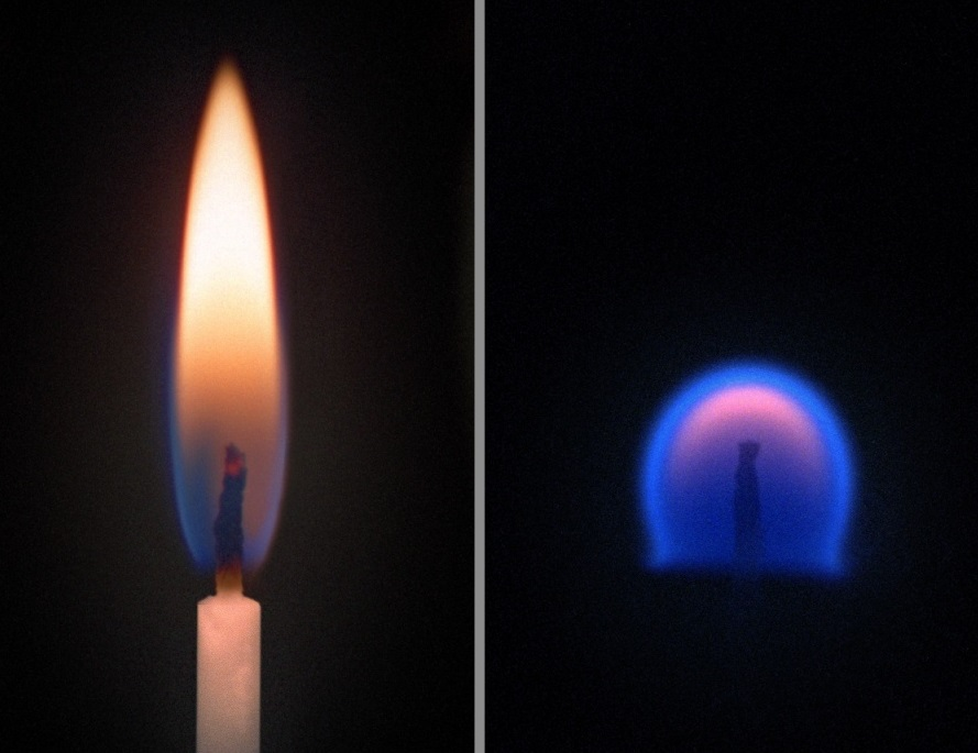 Levo: sveča na Zemlji, desno: sveča v ničelni gravitaciji
