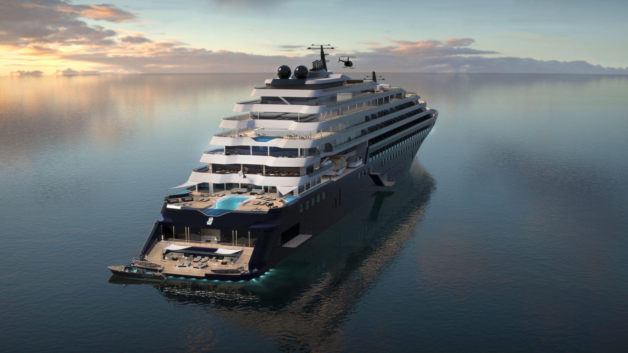 Ritz-Carlton Yacht - dizajn, kot ga poznamo pri običajnih jahtah in ne velikih križarkah.