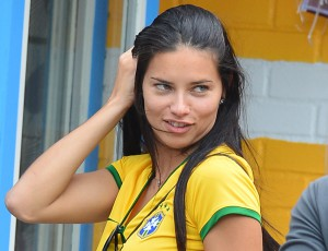 EXCLUSIVE: Adriana Lima seen without make up as she leaves a bar after Brazil Vs Cameroon World Cup Soccer game on the Lower East Side in New York City