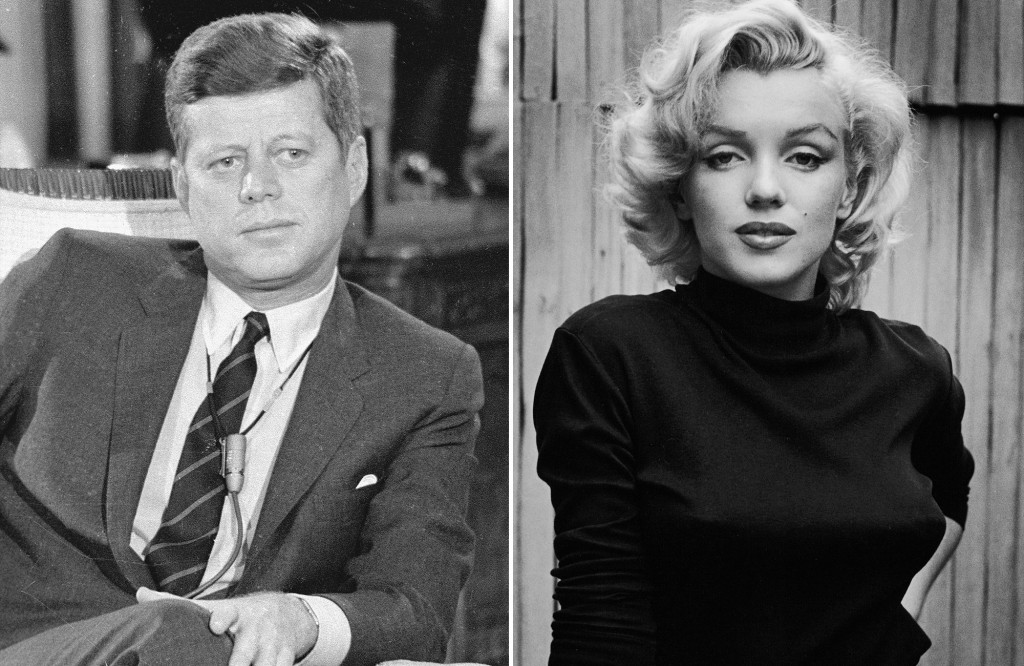 John F. Kennedy in Marilyn Monroe.