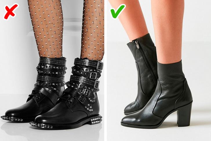 Na čevlju je preveč metalnih detajlov.