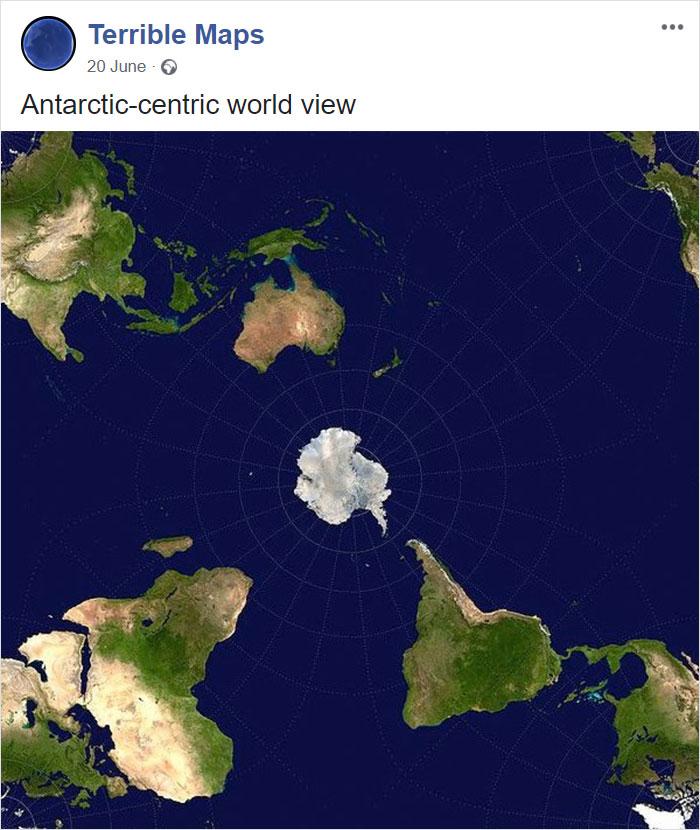 Antarktika kot središče sveta.