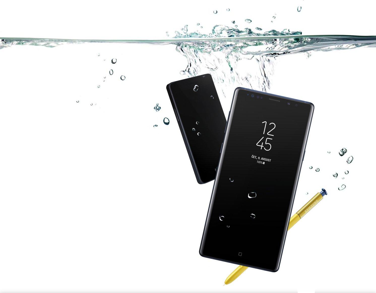 Samsung Galaxy Note9 se ponaša z najvišjim certifikatom odpornosti na vodo in prah.