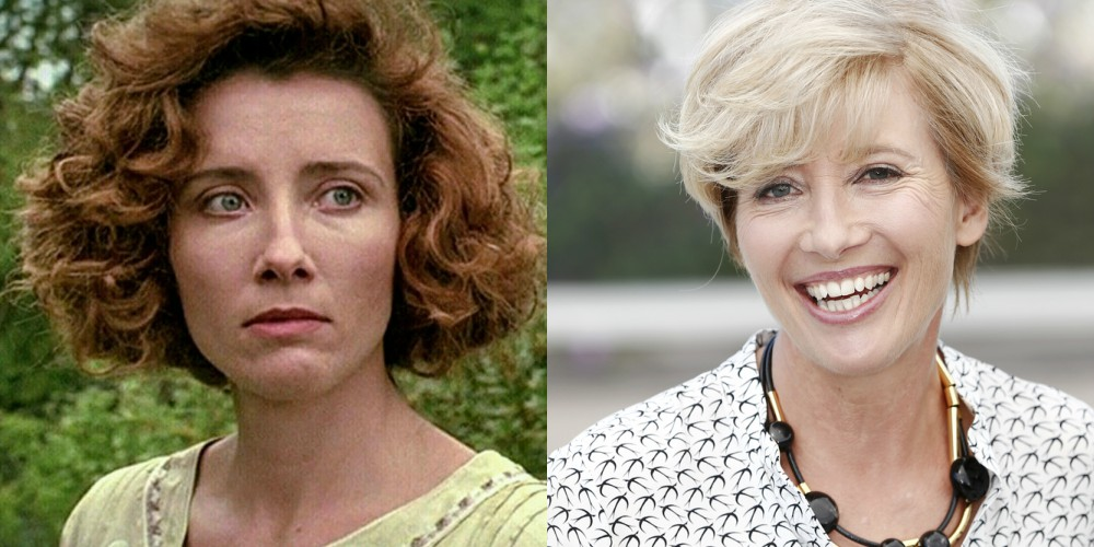 Emma Thompson v filmu Howardov kot (1992) in leta 2017, stara 58 let.