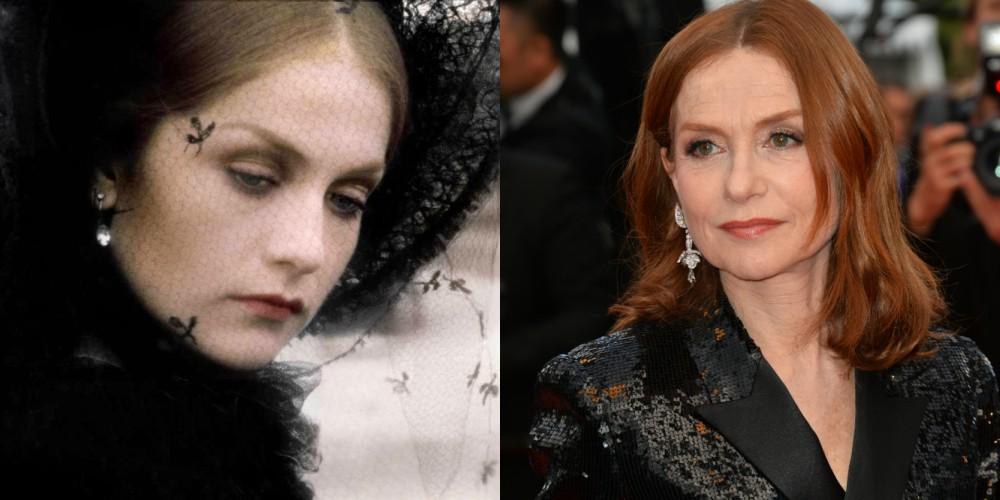Isabelle Huppert v filmu Gospa Bovary (1991) in leta 2018, stara 65 let.