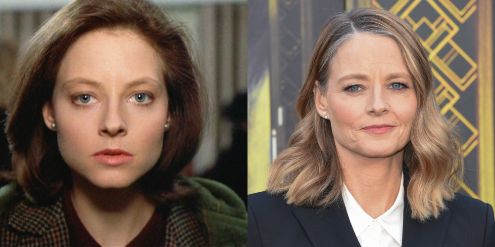 Jodie Foster v filmu Ko jagenjčki obmolknejo (1991) in leta 2018, stara 56 let.
