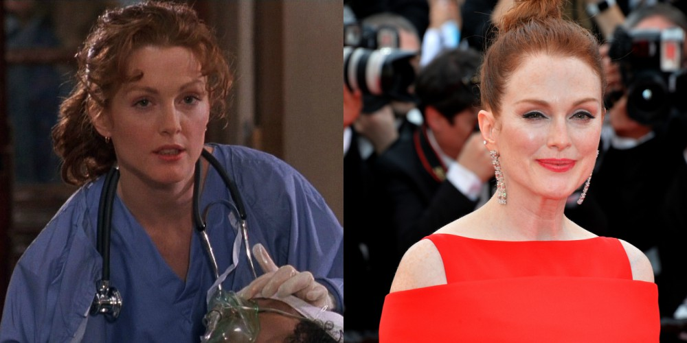 Julianne Moore v filmu Begunec (1993) in leta 2018, stara 58 let.