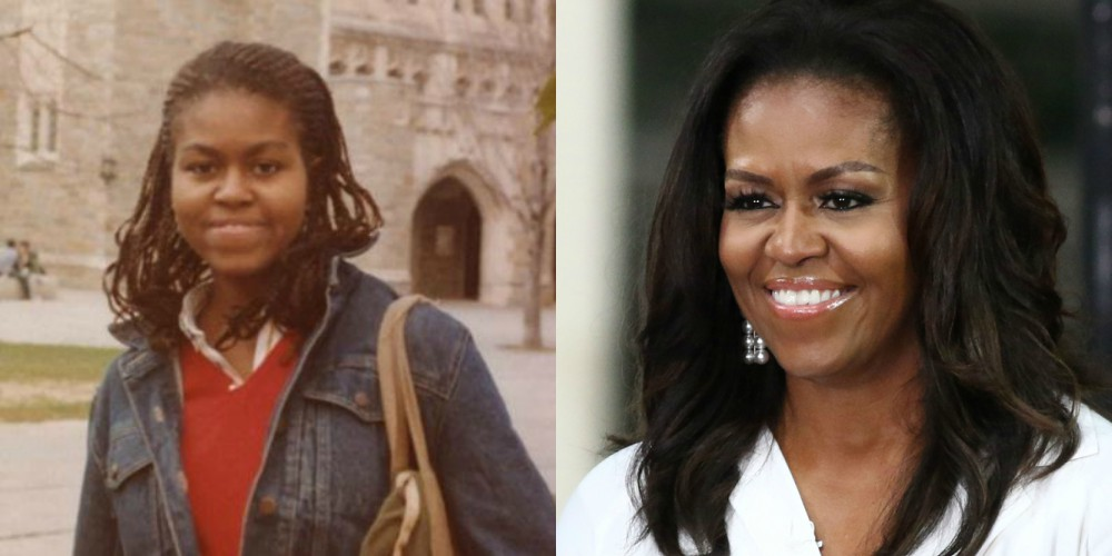 Michelle Obama, stara 20 let in leta 2018, stara 54 let.