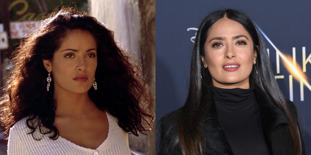 Salma Hayek v filmu Desperado (1995) in leta 2018, stara 52 let.
