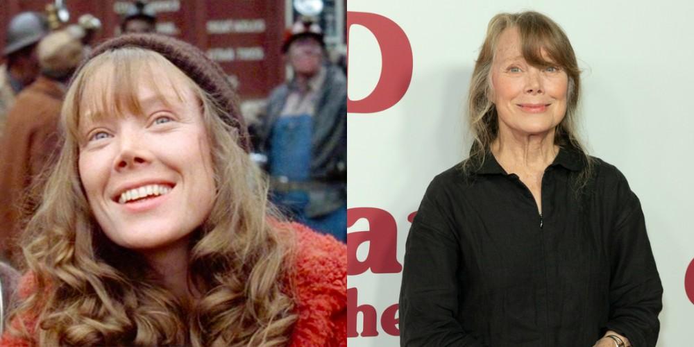 Sissy Spacek v filmu Rudarjeva hči (1980) in leta 2018, stara 69 let.